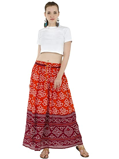 8e2cd39af SKAVIJ Women's Cotton Rayon Elegant Full Length Floral Print Pleated Long  Maxi Skirt Dress (skt