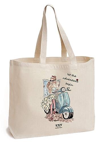 87c1f47c6f Sac de coton avec poche - pour le shopping, le sport, les livres, la plage  - Grand, ...