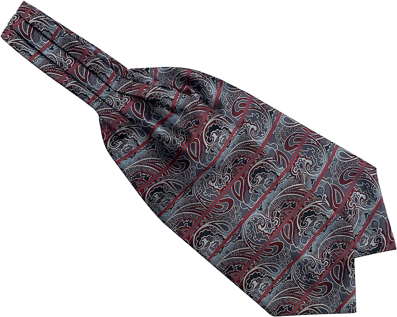 Secdtie Mens Paisley Floral Silk Self Ascot Designer Jacquard Woven Cravat Ties