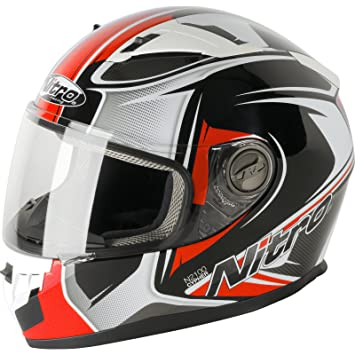 Nitro N2100 Cypher - Casco de Moto, Black White Red, Small