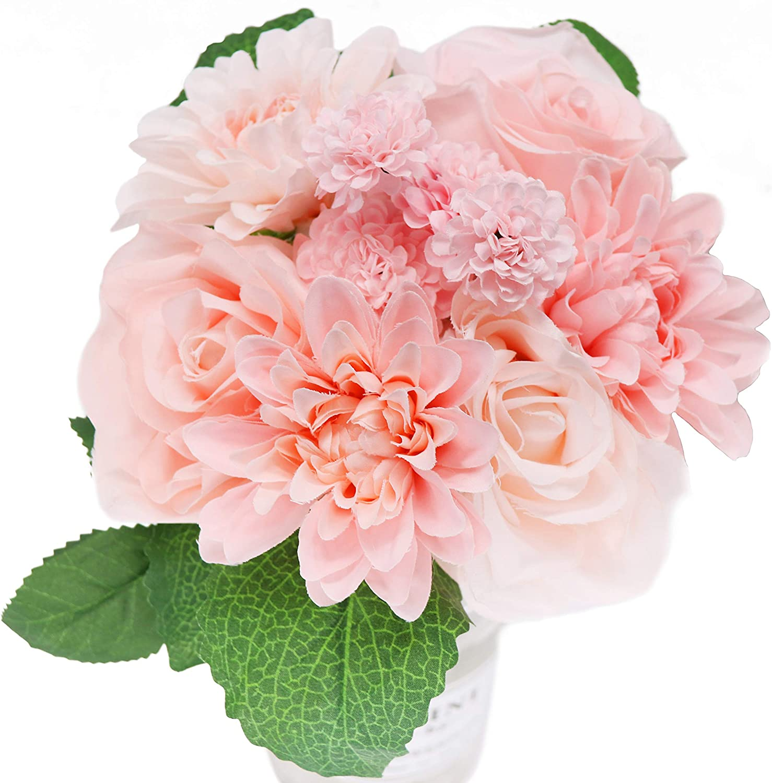 1Bouquet 8 Heads Artificial Peony Silk Flower Leaf Home Bridal Wedding Party Festival Bar Decor