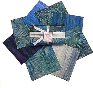 Textile Creations Indonesian Batik Fat Quarters 8 Pcs Blue/Green