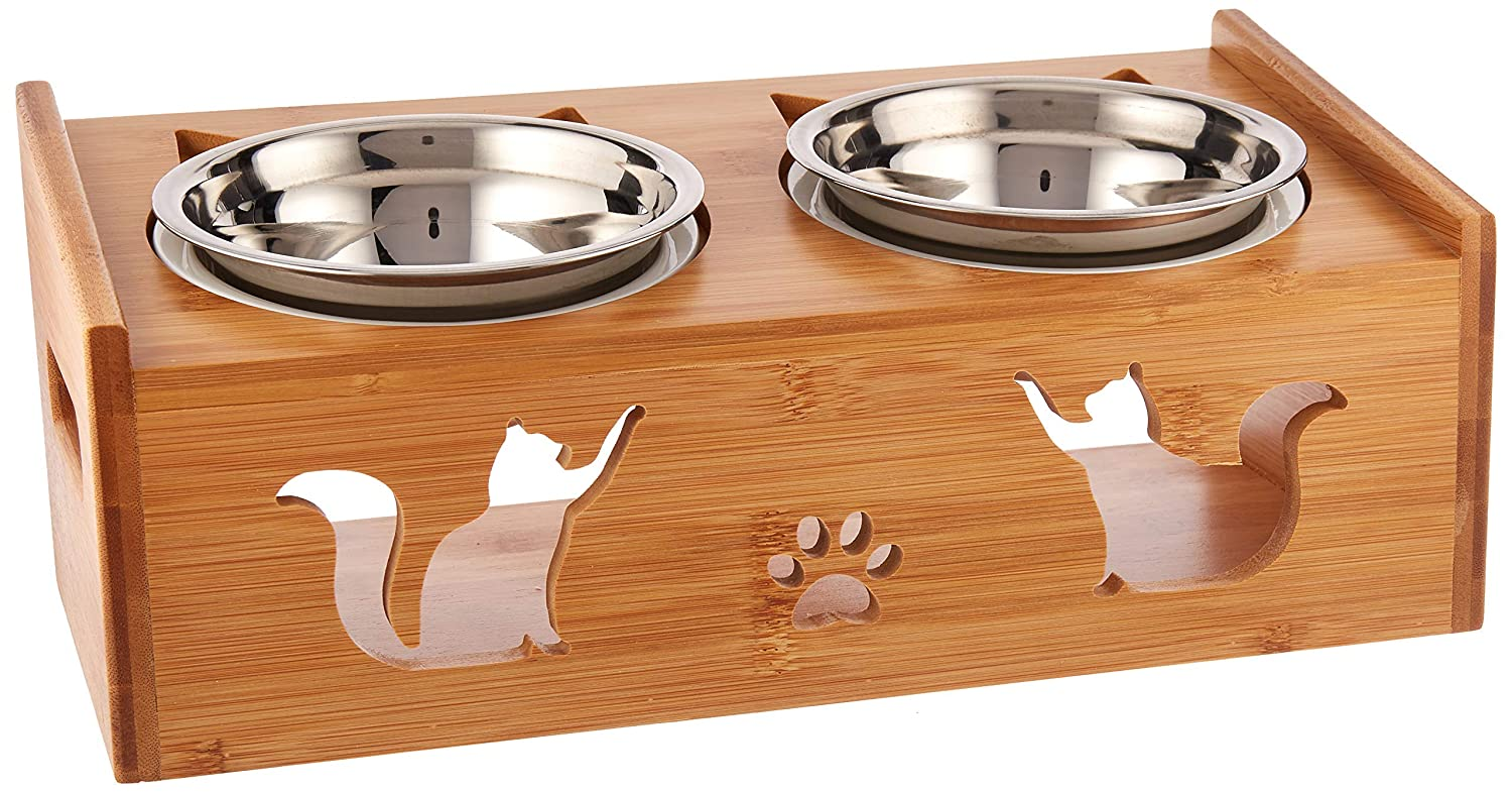 Lepet Raised Cat Food Bowls, Elevated Cat Dish Solid Bamboo Stand Perfect for Cats and Small Dogs with 2 Extra Stainless Steel Bowls (4 Bowls Incline)
