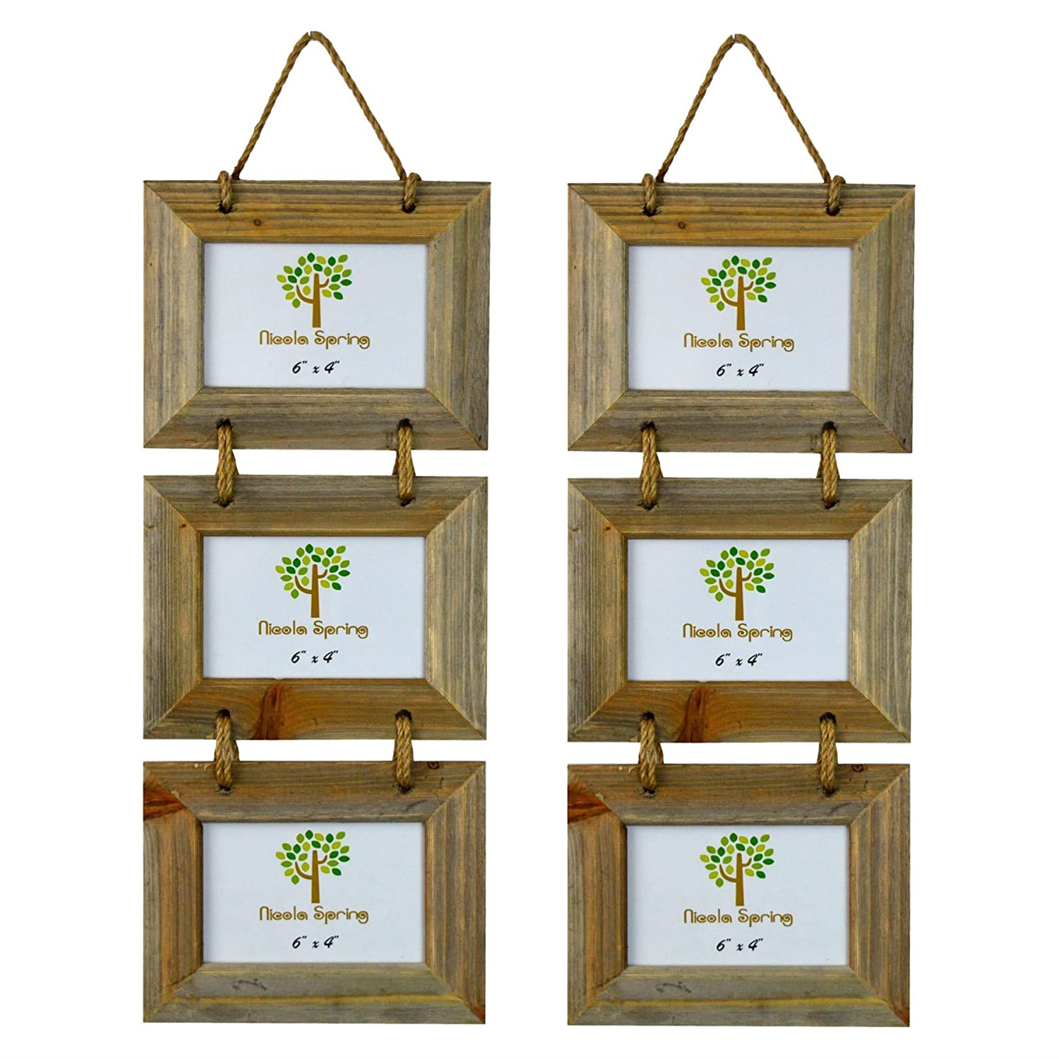 Nicola Spring Triple Wooden 3 Photo Hanging Picture Frame - 6 x 4 - Pack Of 2
