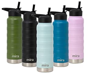 MIRA 25 Oz Stainless Steel Vacuum Insulated Ridge Water Bottle | Double Walled Thermos Flask | 24 Hours Cold, 12 Hours Hot | Reusable Metal Water Bottle | Leak-Proof Sports Bottle | Pearl Blue
