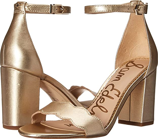 Sam Edelman Women's Odila Ankle Strap Sandal Heel Molten Gold Soft Metallic Sheep Leather 12 M US