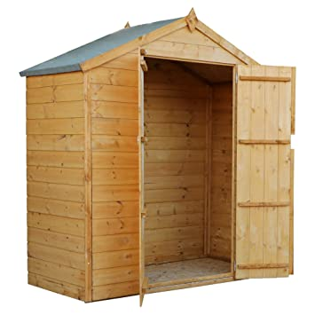 WALTONS EST  1878 3x6 Wooden Garden Storage Shed, Shiplap Construction Dip  Treated with 10 Year Guarantee, Windowless, Double Door, Apex Rood, Roof
