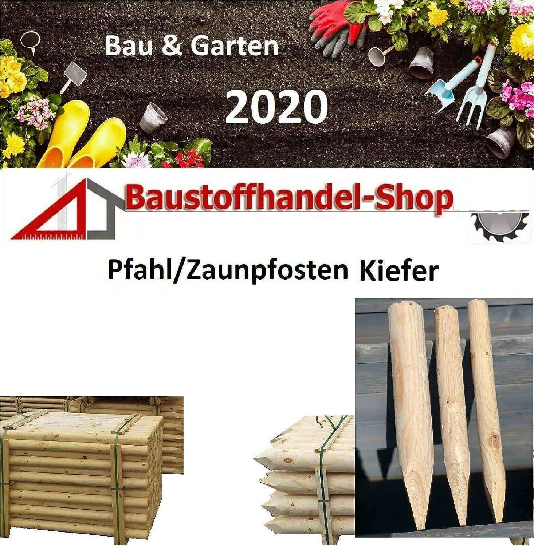 gespitzt roh, 60x1500mm Holzpfosten Zaunpfahl Zaunpf/ähle Zaunpfosten Spitz Holz Pfosten BaustoffhandelShop Kiefer Palisade roh//frisch Zaunpfosten ab 3/€//St