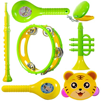 WISHKEY Colourful Plastic BPA Free Non Toxic Set of 7 Musical Instruments Rattle for New…