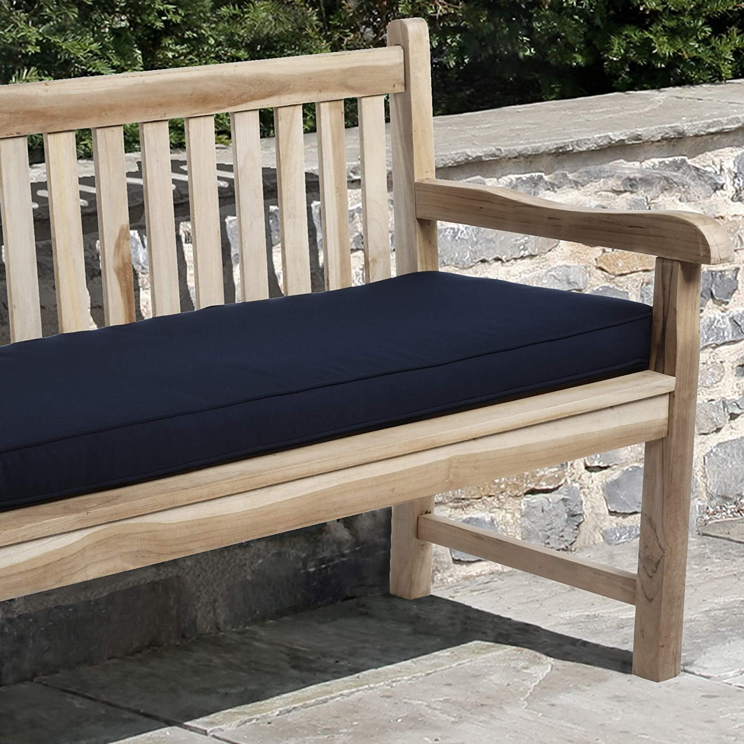 Mozaic AZCS0127 Indoor or Outdoor Sunbrella Bench Cushion with Corded Edges and Tie Backs, 60 inches, Canvas Navy