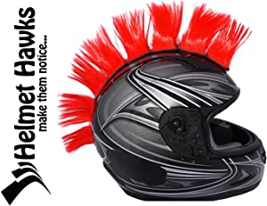 """Helmet Hawks Motorcycle, Ski or Snowboard Helmet Mohawk w/Sticky Hook and Loop Fastener Adhesive (8) Hair Patches 2"""" long x 3"""" Tall - Candy Red"""