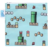 Bumkins Nintendo Super Mario Sandwich Bag / Snack Bag, Reusable, Washable, Food Safe, BPA Free, 7x7 - 8-Bit Game , Pack of 1