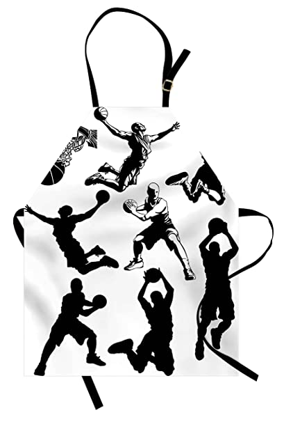 Lunarable Sports Apron, Athletic Muscular Men In Various Basketball  Positions Competitive Sports Theme, Unisex