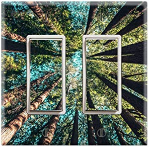 Graphics Wallplates - Forest Trees Nature View Wallpaper Print - Double Rocker/GFCI Wall Plate Cover