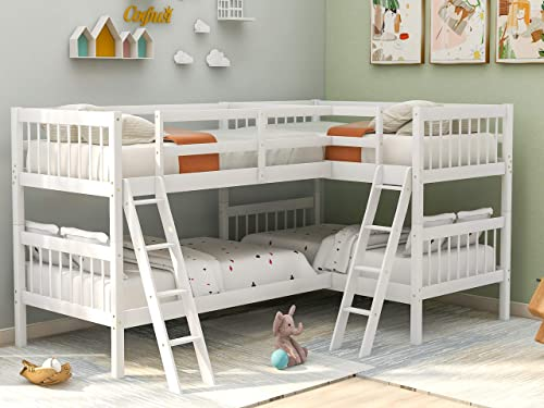P PURLOVE Bunk Bed L-Shaped Twin Size Bed Wood Slat Support No Box Spring Needed White - the best modern bed for the money