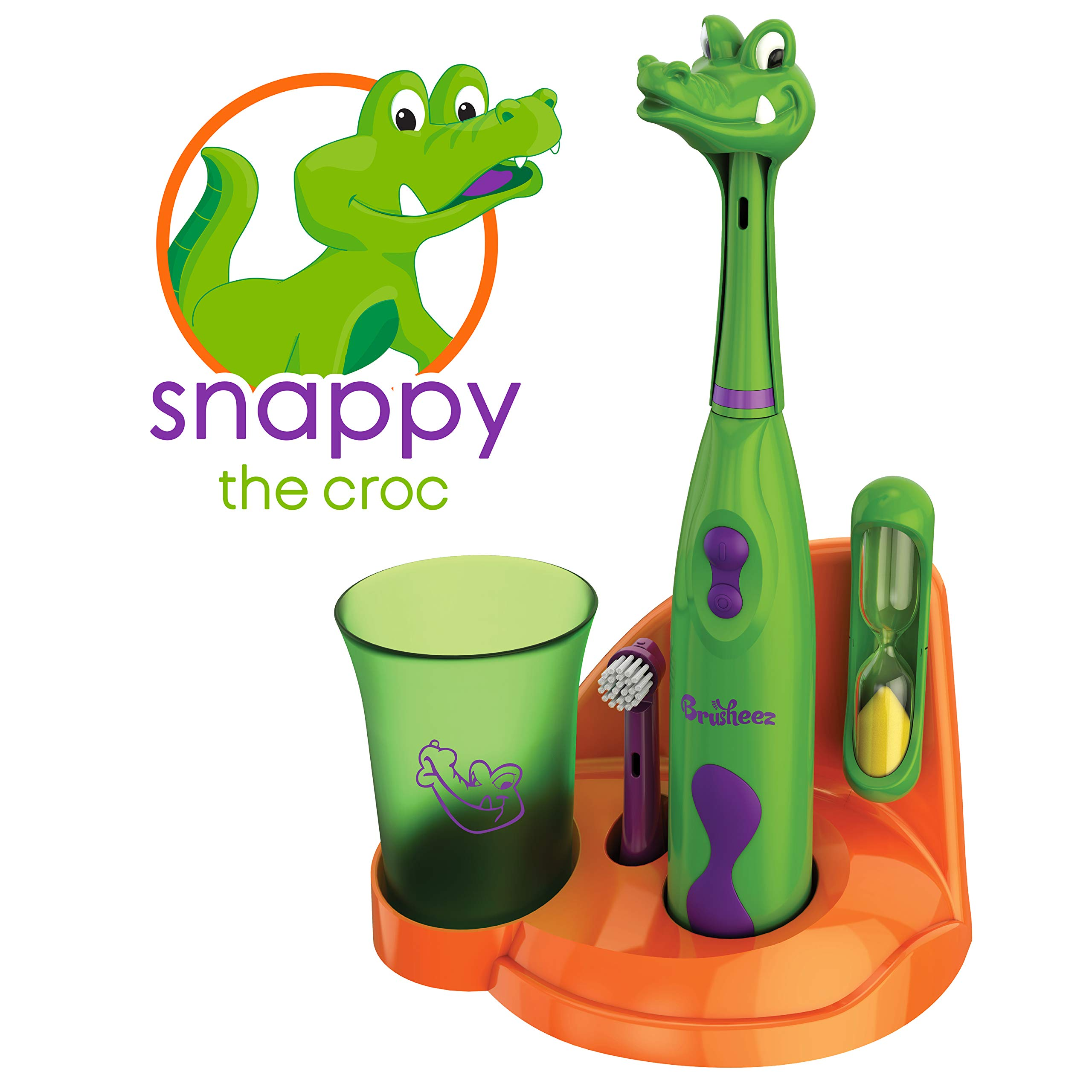 Brusheez Kid's Electric Toothbrush Set - Snappy the Croc - New & Improved with Softer Bristles, Easy-Press Power Button, 2 Brush Heads, Cute Animal Cover, Sand Timer, Rinse Cup & Storage Base by Brusheez