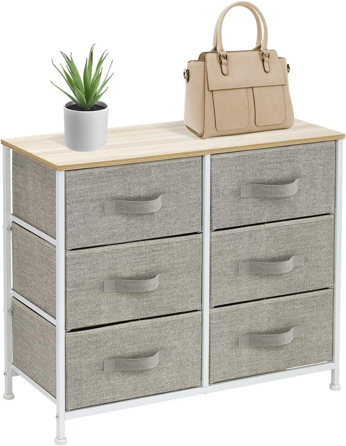 Sorbus Dresser with 6 Drawers - Furniture Storage Tower Unit for Bedroom, Hallway, Closet, Office Organization - Steel Frame, Wood Top, Easy Pull Fabric Bins (6 Drawer - Beige)