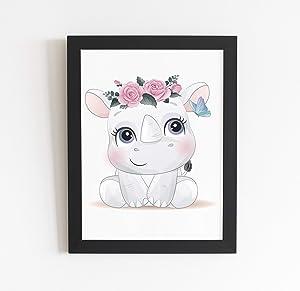 Inspirational Safari Nursery Wall Art Baby Rhino Print Safari Girl Nursery Floral Animal Decor | Above The Bed Decor| Jungle Animal Art Print Playroom Decor | Unframed Wall Poster Sign- 8.5 X 11 Inch