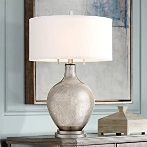 Louie Modern Table Lamp Silver Mercury Glass White Drum Shade for Living Room Family Bedroom Bedside Nightstand - Possini Euro Design