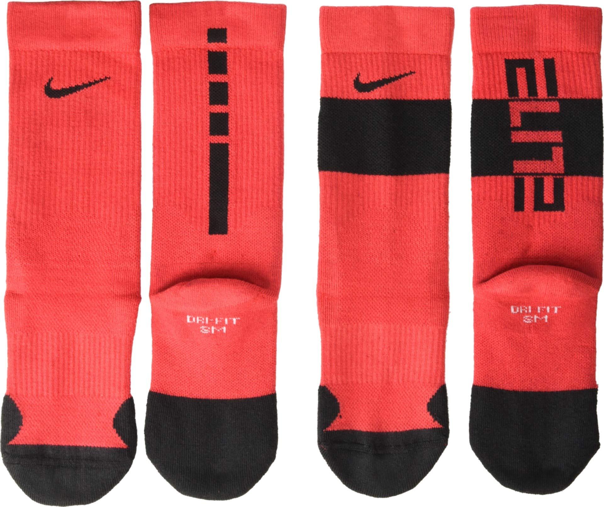 Nike Youth Elite Basketball Crew Socks 2 Pack (University Red/Black, Medium) by Nike