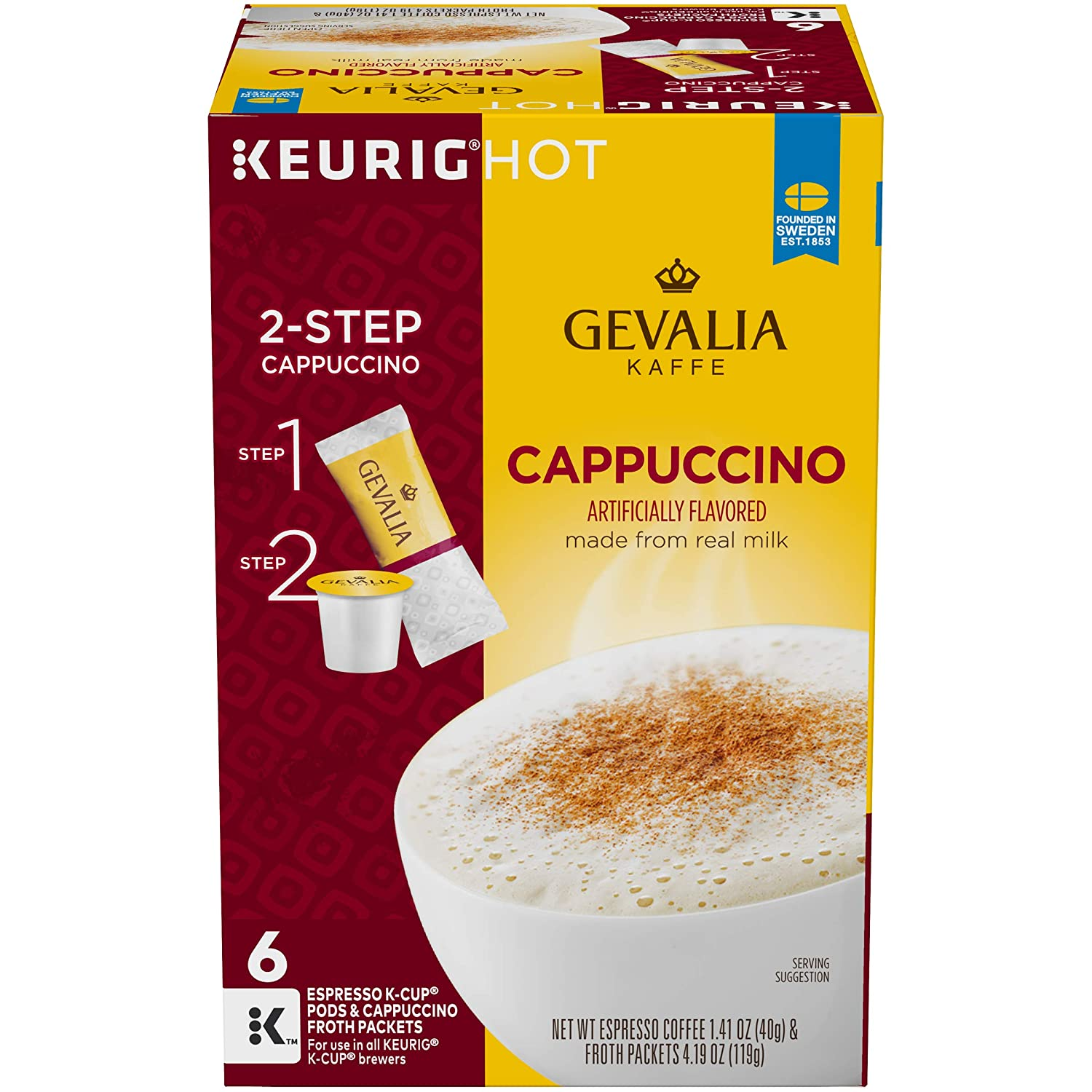 Gevalia Cappuccino Keurig K Cup Coffee Pods & Froth Packets (6 Count)