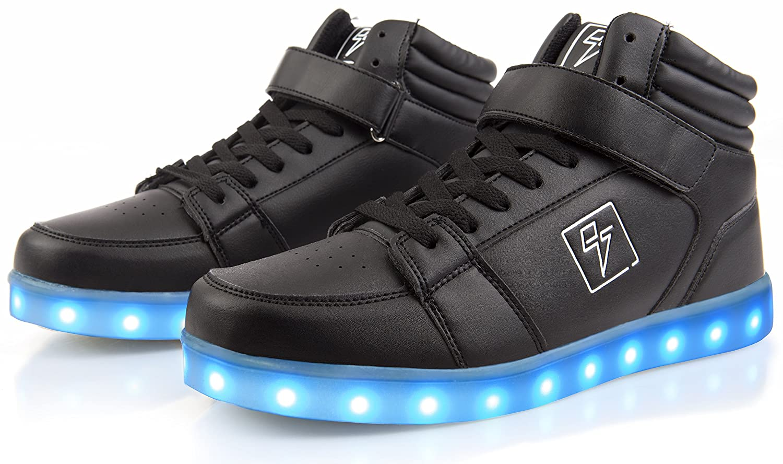 Electric Styles Light up Shoes - High Tops by B017V9KQ5Q 10 B(M) US Women / 8 D(M) US Men Black