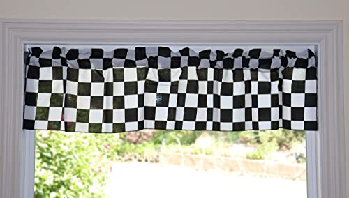 lovemyfabric Poly Cotton Checker Board Race Flag Chess Board Print Bedroom Kitchen Bathroom Classroom Diner Curtain Valance Window Treatment Window Decor 58 Wide 32 Tall