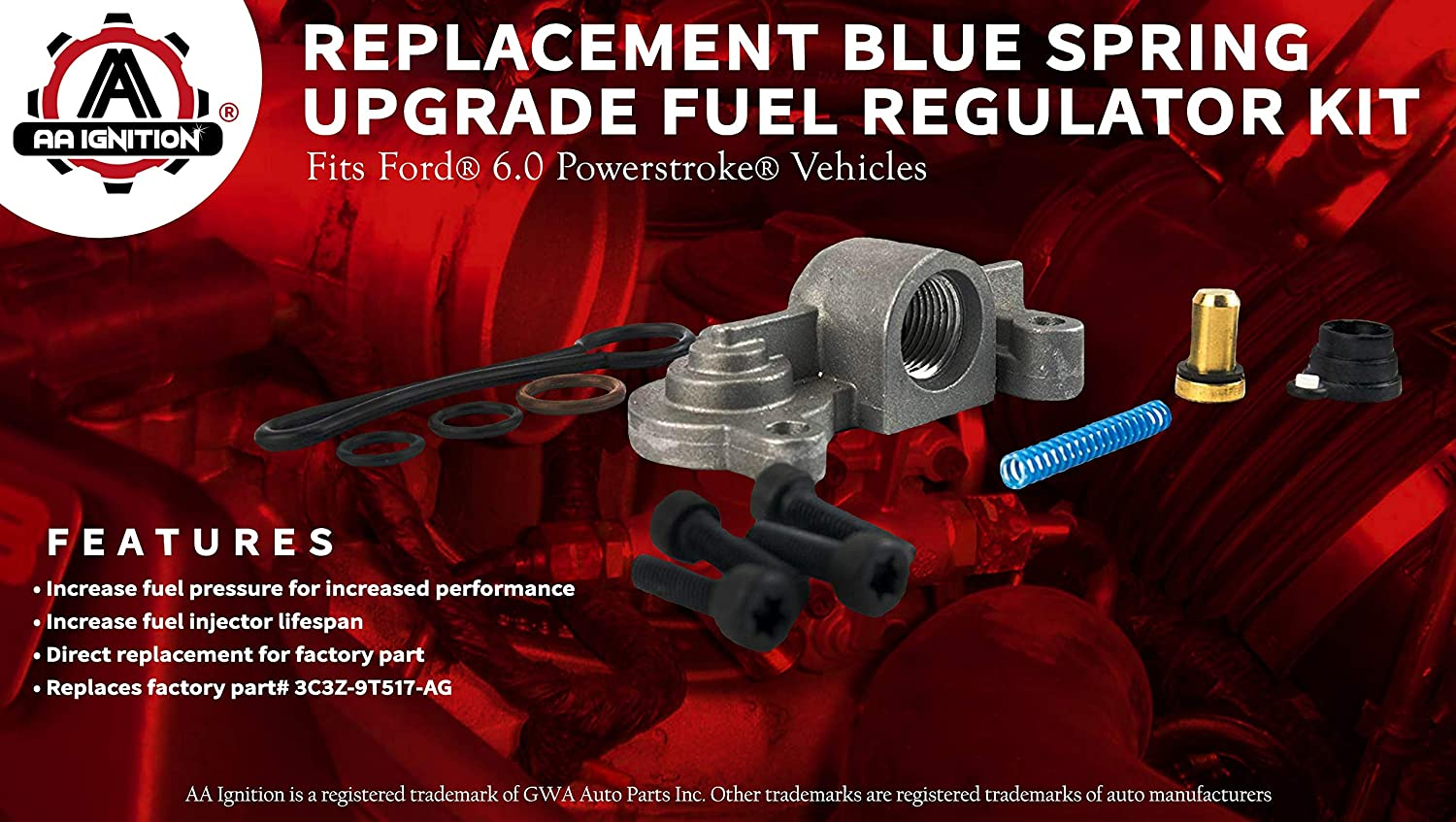 60 Blue Spring Kit Upgrade Fuel Regulator Fits 2006 Ford F 250 Filter Location Powerstroke F250 F350 F450 F550 2003 2004 2005