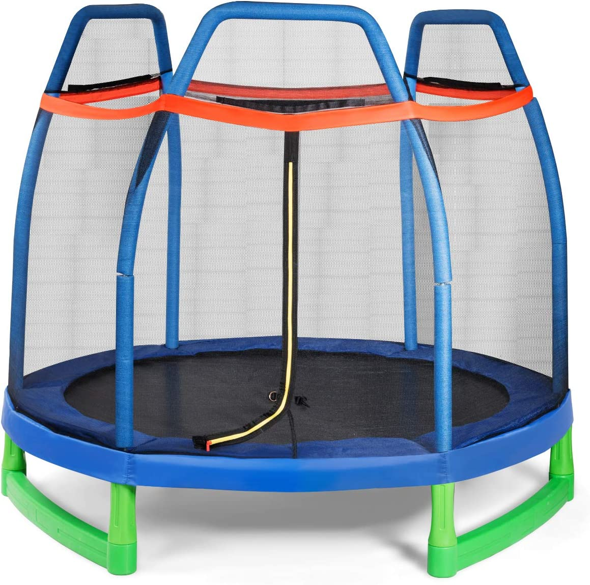 Giantex 7 Ft Kids Trampoline w Safety Enclosure Net, Spring Pad, Zipper, Heavy Duty Steel Frame, Mini Trampoline for Indoor Outdoor, Great Gifts for Kids