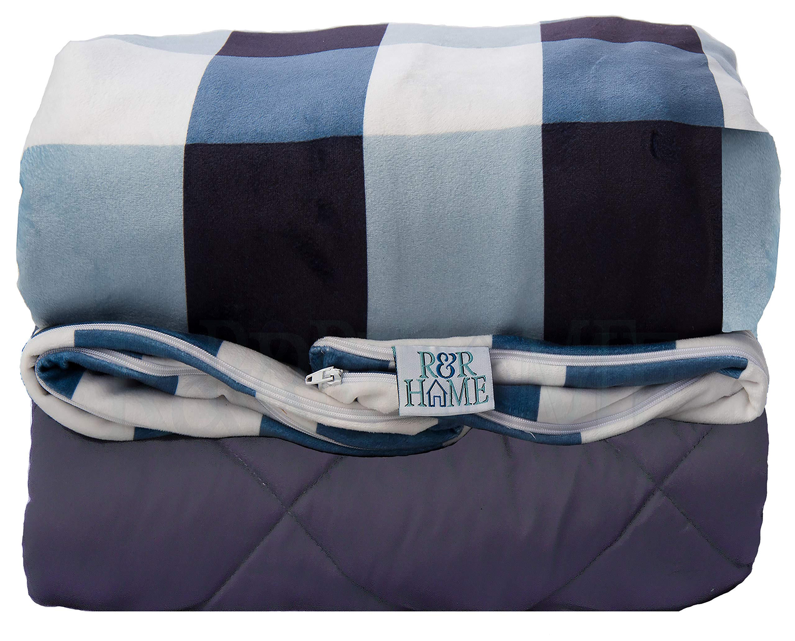 R&R HOME - Premium Weighted Blanket & Removable Duvet Cover Set for Kids & Adults   King/XLarge   60''x80''   20 lbs   Gray Cotton Blanket   Navy Blue & White Checkered Minky Cover by R&R HOME
