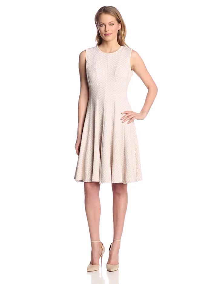 Julian Taylor Women's Sleeveless Fit and Flare Dress, Khaki/White, 10