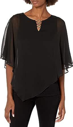 AGB Women's Plus Size Asymmetrical Hem Popover Top