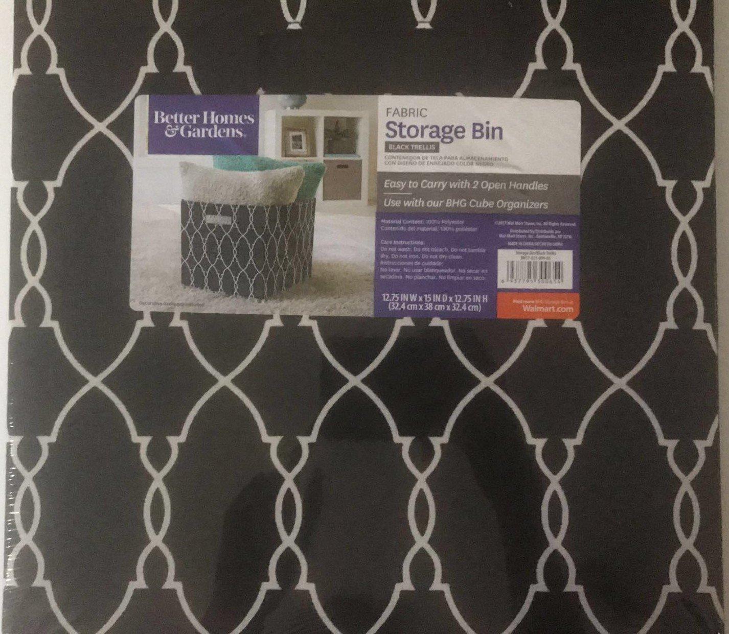 Better Homes & Garden Fabric Storage Bin - Black Trellis