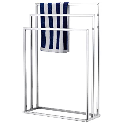 Amazon.com: MyGift Freestanding Towel Rack, 3 Tier Metal Towel Bar ...