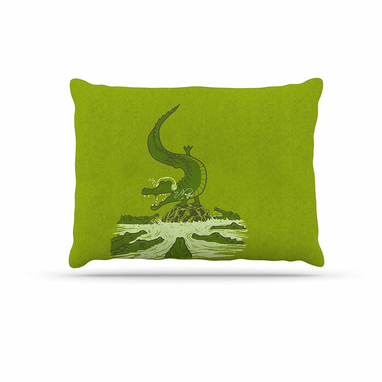 KESS InHouse Barmalisirtb Breakdance Crocodile Green Beige Dog Bed, 30  x 40