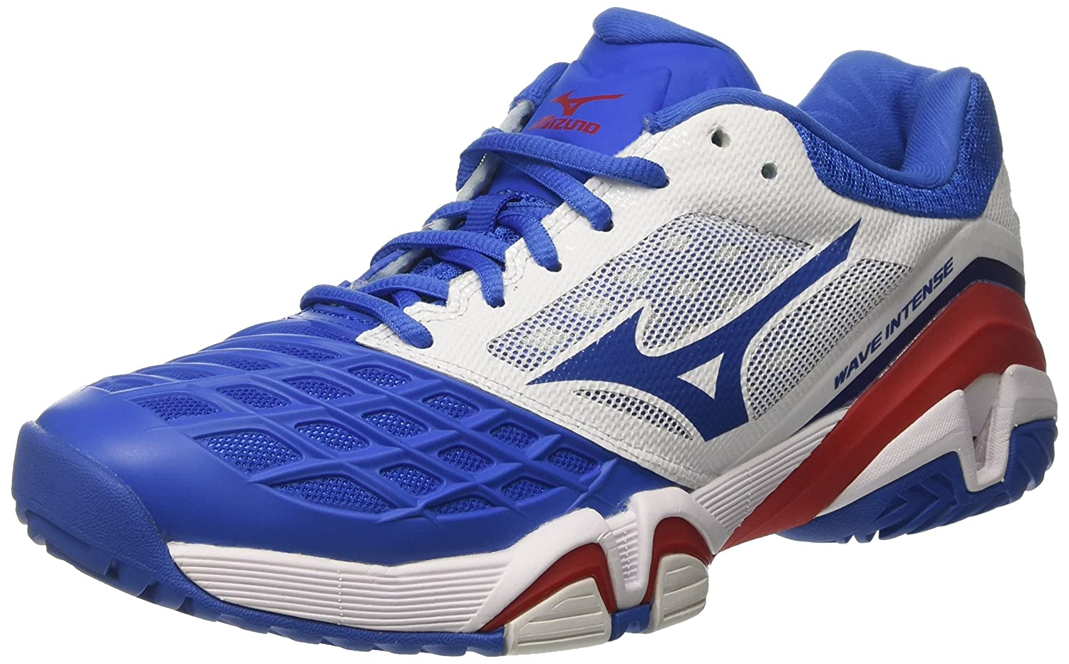 Mizuno Herren Wave Intense Tour AC Tennisschuhe  42.5 EU|Multicolore (White/Strongblue/Chinesered)