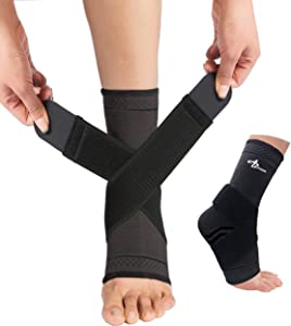 JUPITER Foot Sleeve (Pair) with Compression Wrap, Ankle Brace For Arch, Ankle Support, Football, Basketball, Volleyball, Running, For Sprained Foot, Tendonitis, Plantar Fasciitis