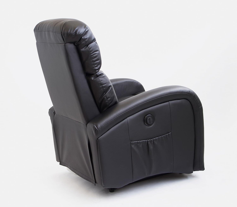 Astan Hogar Adara Sillón Relax Con Reclinación Eléctrica Articulada, Masaje Y Termoterapia, Tapizado Anti-cuarteo Negro, Compacto