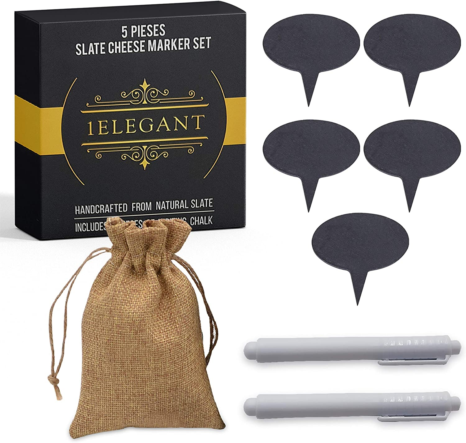 Cheese Markers Set - 5 Chalkboard Labels Made of Natural Slate & 2 Soapstone Chalk Markers, Cheese Name Tags, Labels Food. Great for Party and Dinner - Christmas Gift Idea, Gift for Mom, Women