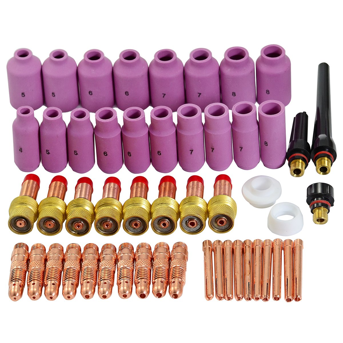 TIG Gas Lens Collet Body Consumables Kit Fit QQ300 PTA DB SR WP 17 18 26 TIG Welding Torch 51pcs