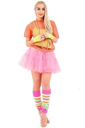 8e85dbb1d6 CRAZY CHICK® New Women Ladies Fancy Dress Accessories 7PCs Set, 2 Layer Tutu  Skirt, Vest, Mesh Top, Necklace Bead, Leg warmer & Fishnet Gloves Party  Fancy ...