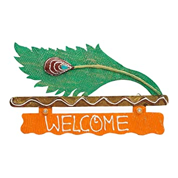 999Store Peacock Feather Mor Pankh Hand Crafted Beautiful Painted Custom Name  Plate / Welcome Main Door