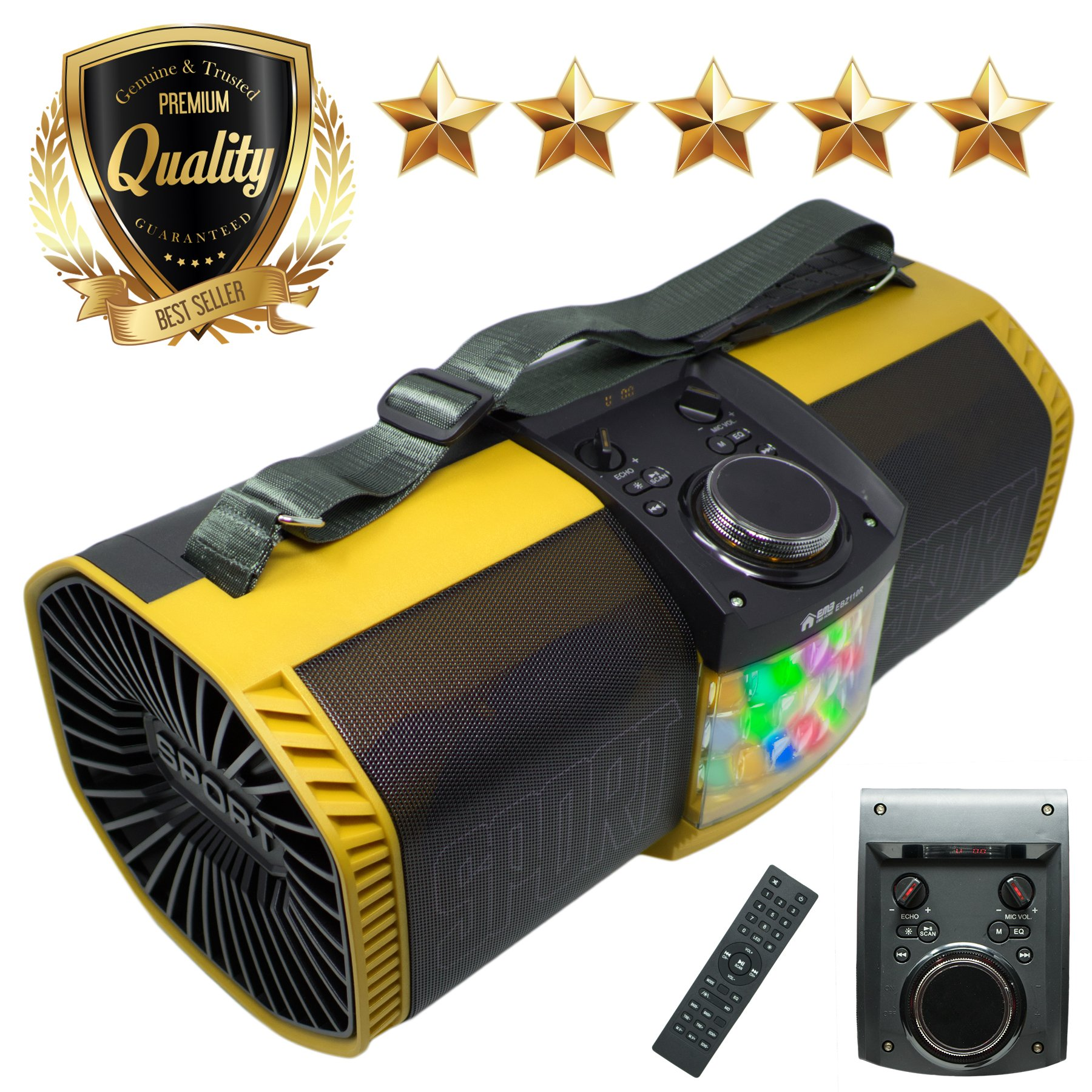 EMB Bluetooth Boombox Street Disco Stereo Speaker - 3600mAH Rechargeable Battery Portable Wireless 300 Watts Power FM Radio/MP3 Player w/Remote and Disco Lights (Yellow) by EMB Professional