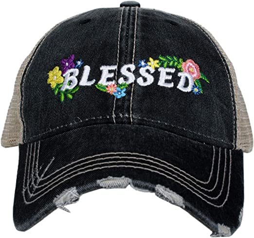 #BLESSED in Hot Pink Embroidered Women/'s Trucker Hat Gray Mesh Back