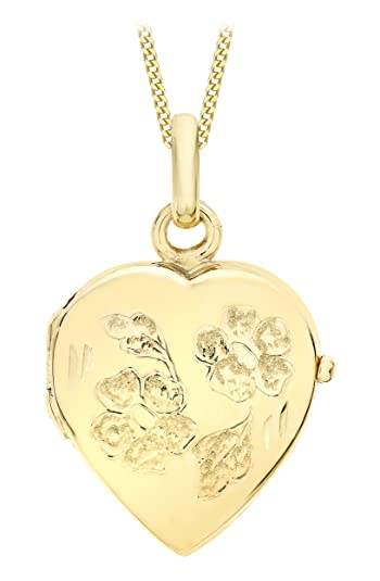 Carissima Gold 9ct Yellow Gold Heart Flower and Leaf Locket Pendant on Curb Chain Necklace of 46cm/18 T5XgVtR9K