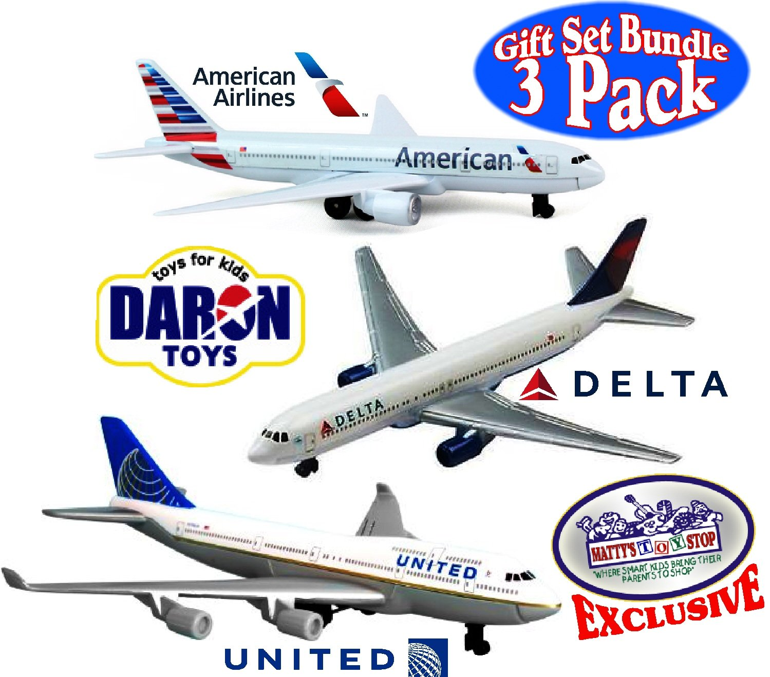 Daron American Airlines, Delta & United Airlines B747 Die-cast Planes Matty's Toy Stop Exclusive Gift Set Bundle - 3 Pack
