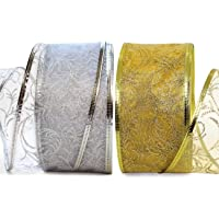 Ribbons Set 25 Yard Gift Wrap Ribbon Wired 2.5 inch Gold & Silver (White) Sheer Organza 2 Pack Rolls Kit for Craft…