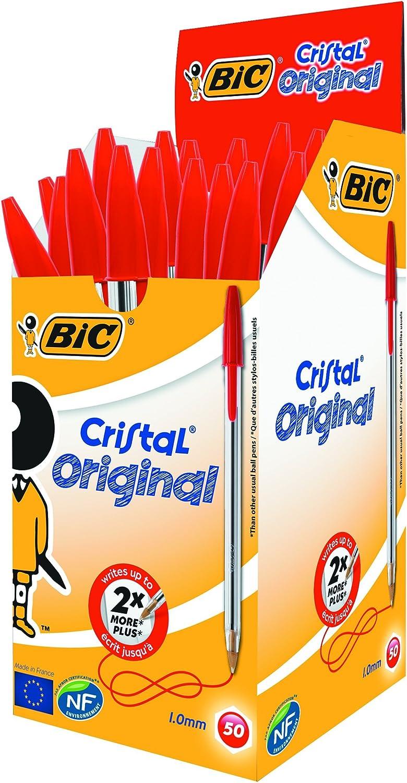BIC CRISTAL ORIGINAL FINE BALLPOINT BALL BIRO PEN BLACK BLUE RED BOX OF 20