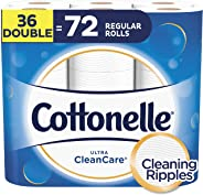 Cottonelle Toilet Paper, 36 Double Rolls (Equal to 72 Regular Rolls), Ultra CleanCare, Soft Bath Tissue, Biodegradable, Septi