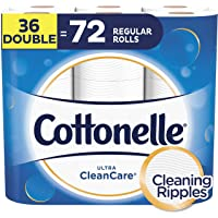 Cottonelle Toilet Paper, 36 Double Rolls (Equal to 72 Regular Rolls), Ultra CleanCare, Soft Bath Tissue, Biodegradable, Septic-Safe